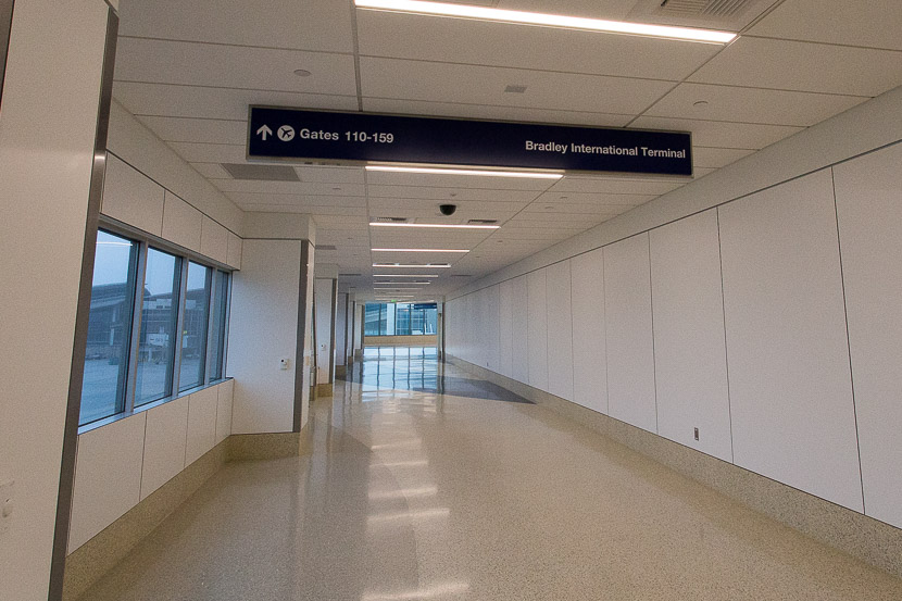 The first corridor you walk down takes you out of Terminal 4 and around the corner.