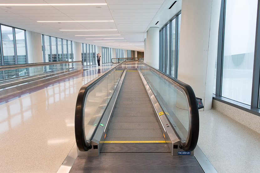 The two moving walkways help make the transit between Terminal 4 and TBIT much easier.
