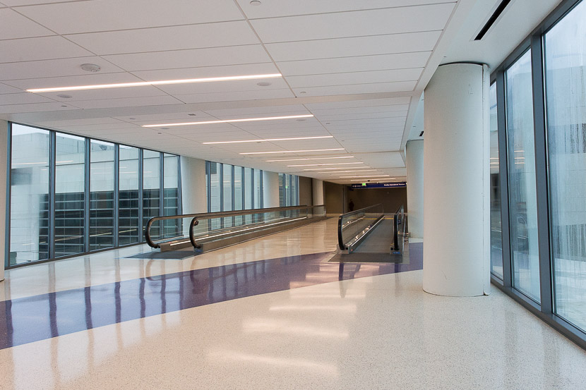 As the connector approaches TBIT, travelers take a sharp left into the terminal.