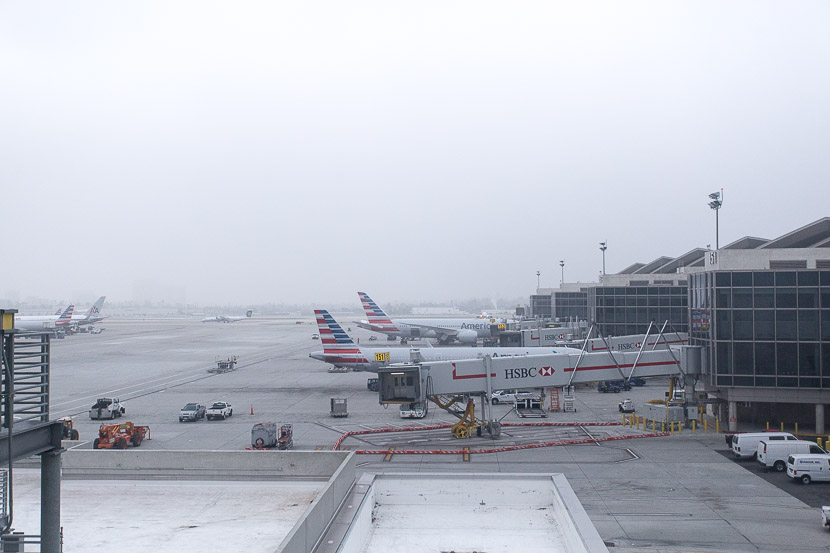 You can get some pretty decent views of the tarmac from the connector, although it was quite foggy the day I traveled.