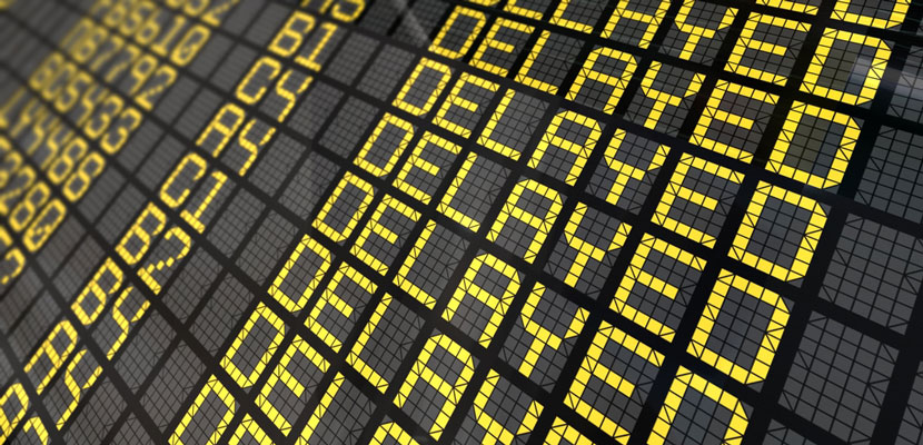 Delayed at the airport. Image courtesy of Shutterstock.