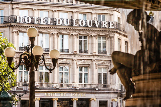 The Hotel du Louvre sits near the eponymous museum in Paris.