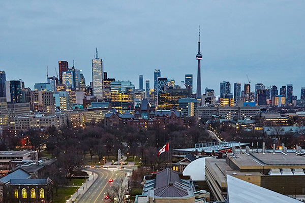 A city view from the Park Hyatt Toronto's rooftop lounge.